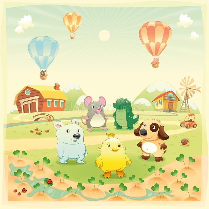 Animales del campo de bebé en el campo. stock de ilustración