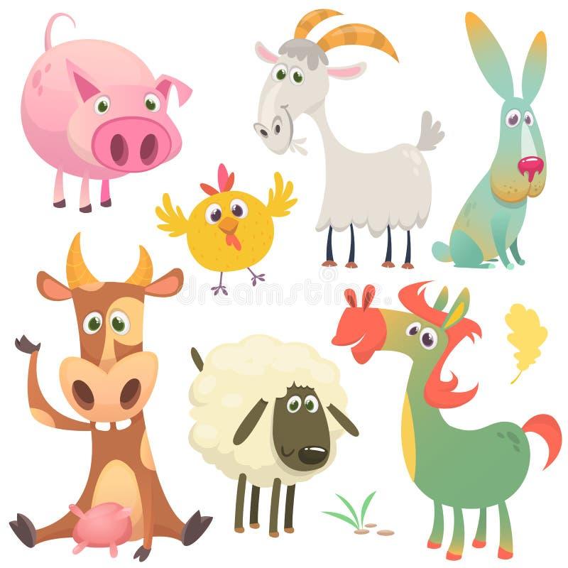 Animales del campo de la historieta fijados Ilustración del vector ilustración del vector