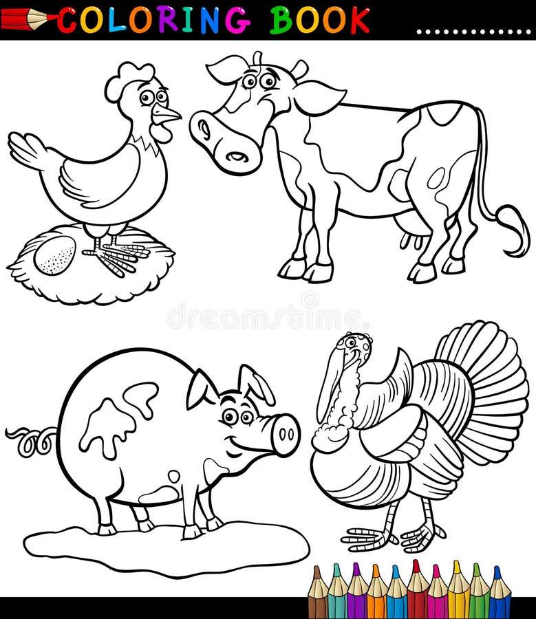 Animales Del Campo De La Historieta Para El Libro De Colorear ...