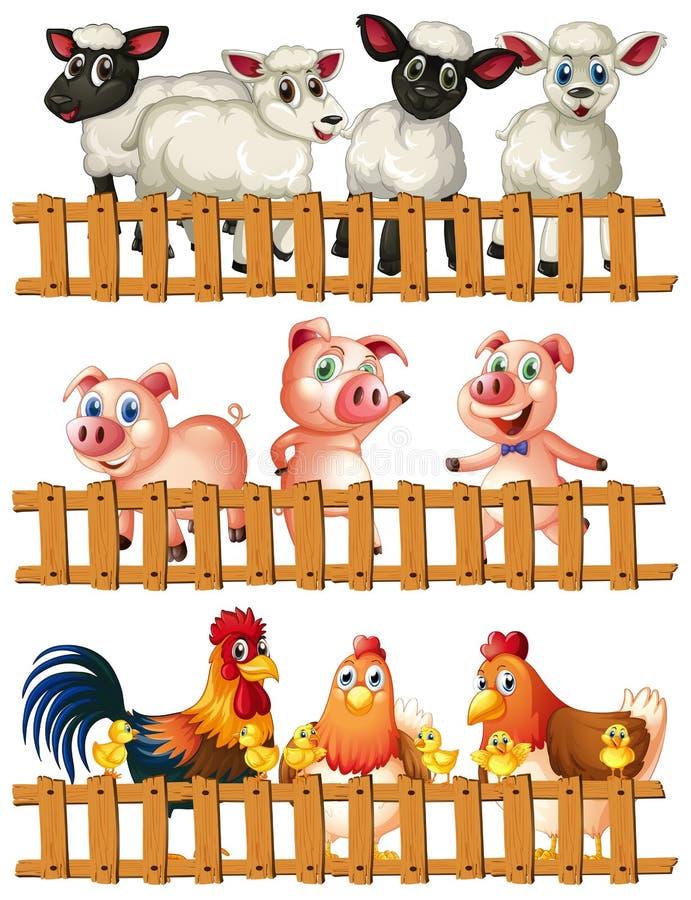 Animales del campo detrás de la cerca de madera stock de ilustración