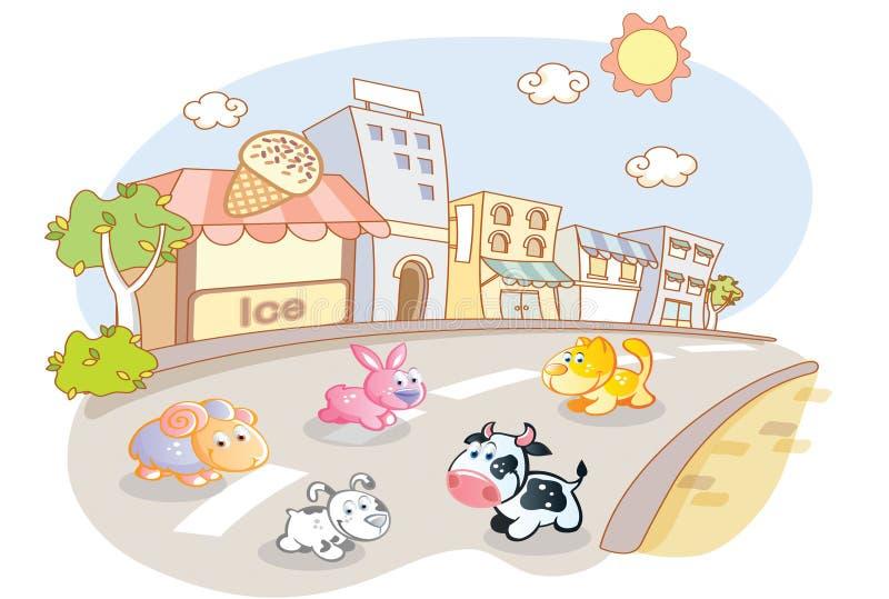 Animales del campo en las calles de la ciudad stock de ilustración