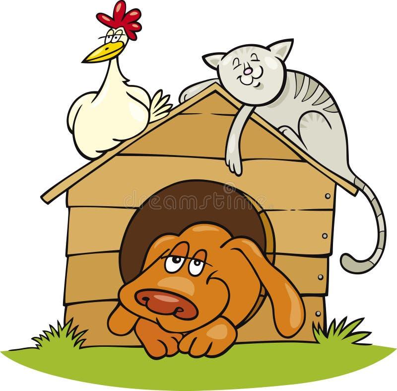 Animales del campo felices ilustración del vector