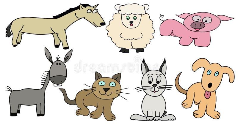 Animales del campo fijados stock de ilustración