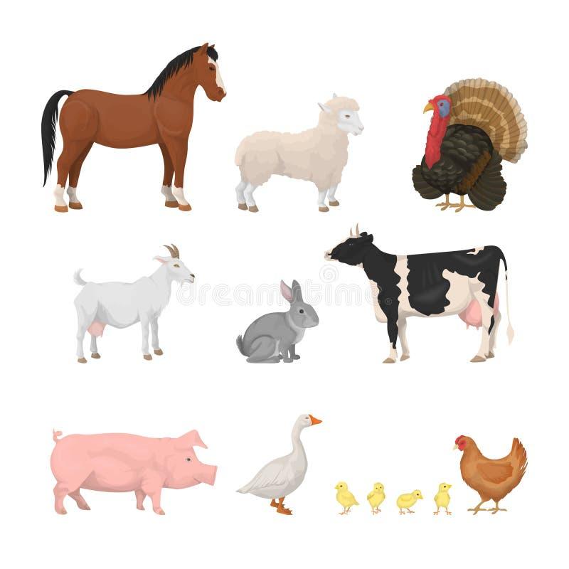 Animales del campo fijados ilustración del vector