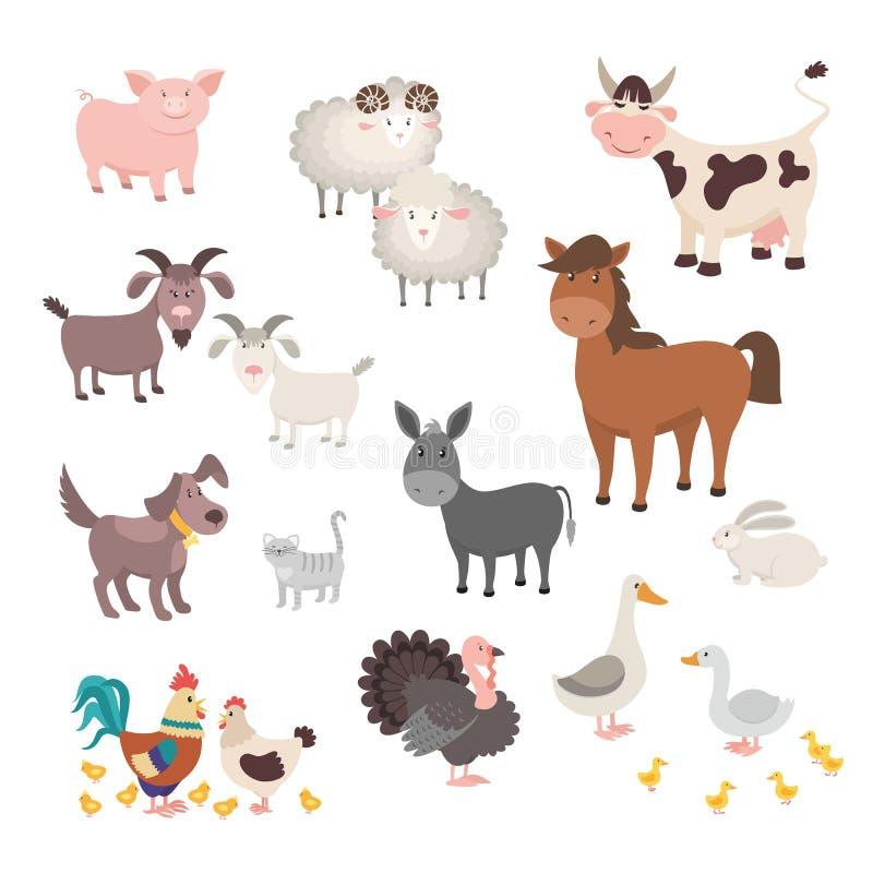 Animales del campo fijados Gato animal aislado del conejo del pavo del perro del caballo del pollo del cerdo de los hogares Ilust stock de ilustración