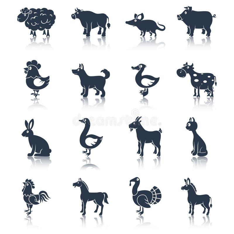 Animales del campo fijados negros ilustración del vector
