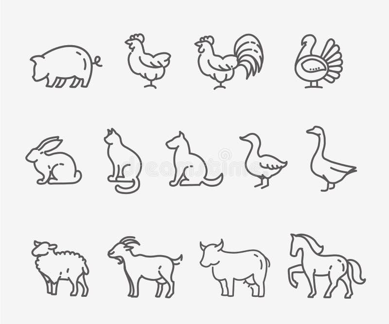 Animales del campo, línea estilo fina, diseño plano libre illustration