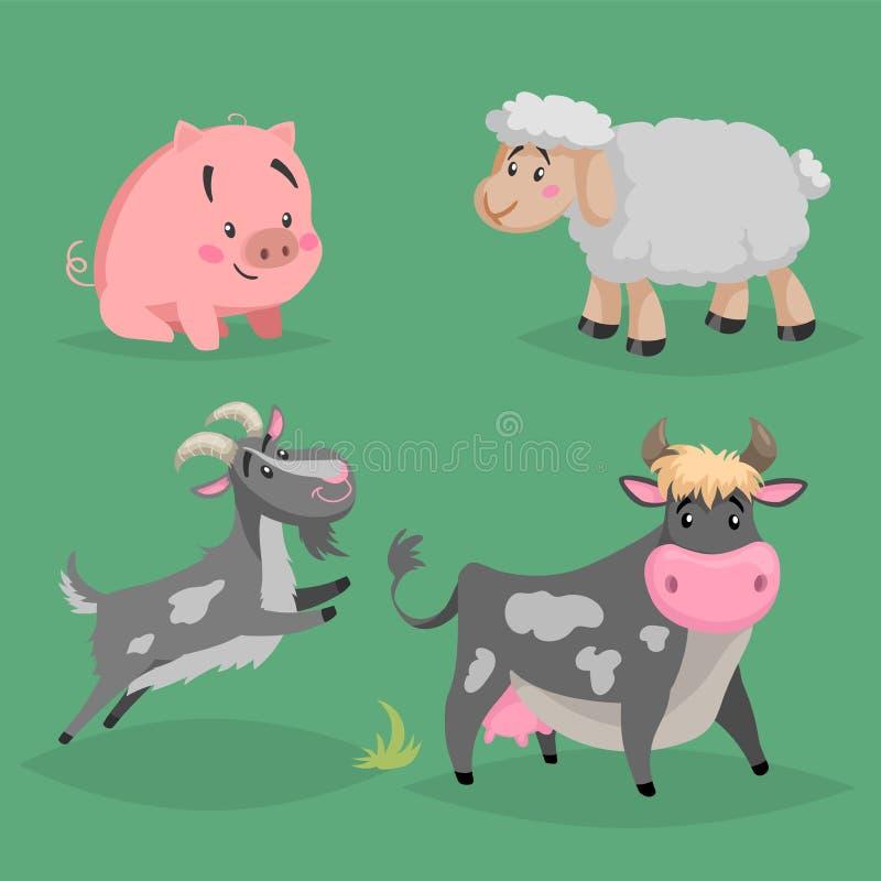 Animales del campo lindos de la historieta fijados Ovejas peludas, vaca, cabra sitiing y de salto del cerdo Ejemplo nacional de l ilustración del vector