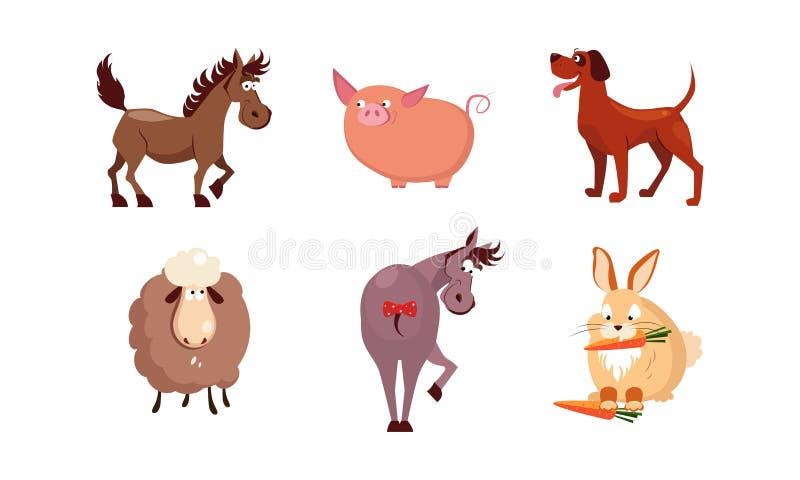 Animales del campo lindos de la historieta sistema, caballo, oveja, burro, conejo, perro, ejemplo del vector del cerdo stock de ilustración