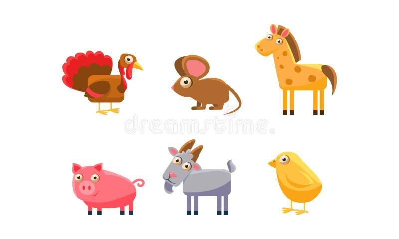 Animales del campo lindos sistema, pavo, caballo, cerdo, cabra, pollo, ejemplo del vector del ratón libre illustration