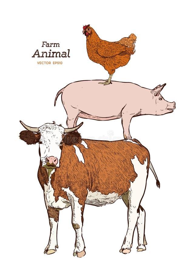 Animales del campo Sistema aislado del vector del vintage libre illustration
