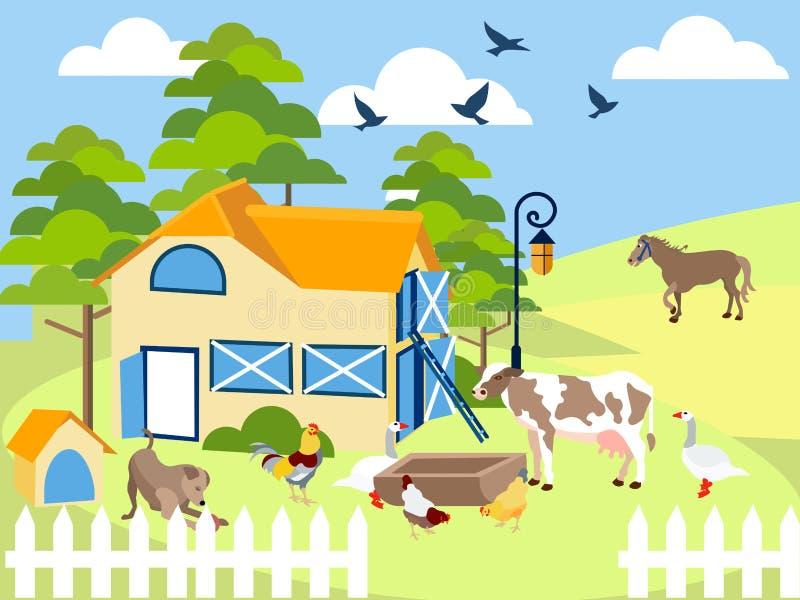 Animales del campo vaca, cerdo, pájaro, edificio, caballo, agronomía En estilo minimalista Vector plano de la historieta stock de ilustración