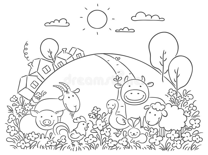 Animales del campo y la colina verde ilustración del vector