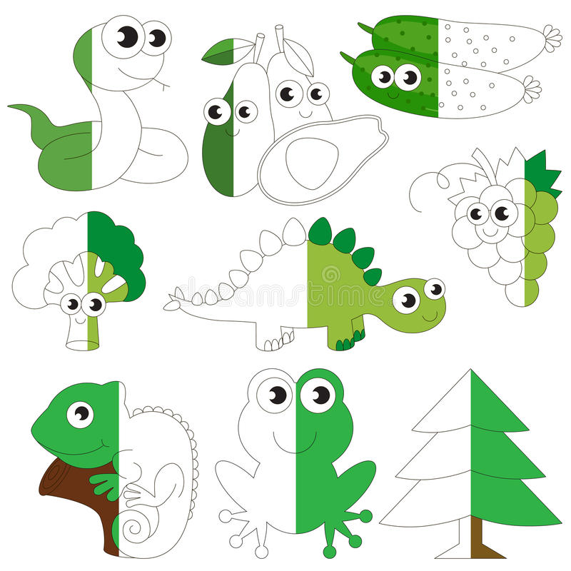 Animales del color verde, frutas y verduras, el juego grande del niño que se coloreará por ejemplo medio stock de ilustración