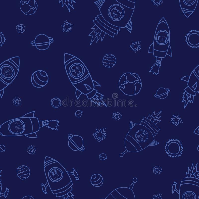 Animales del espacio del astronauta en fondo inconsútil azul del vector Naves de Rocket Astronautas animales ratón, gato, jirafa, ilustración del vector
