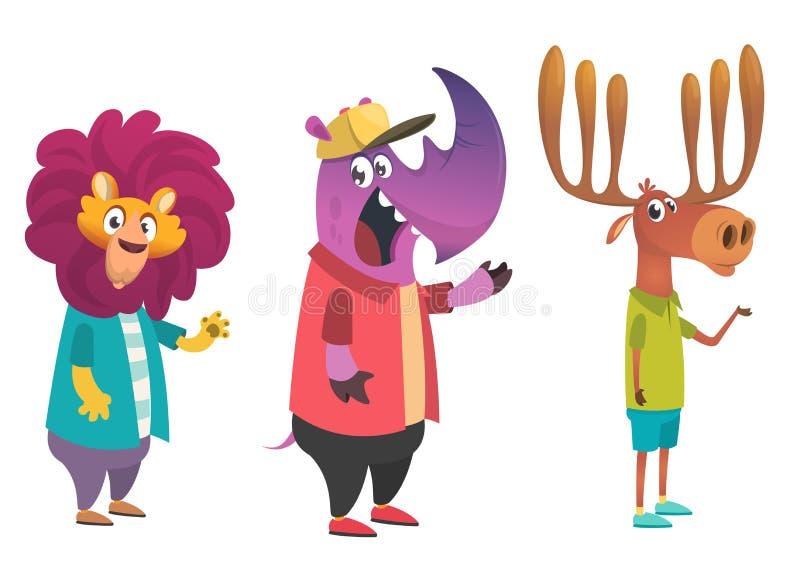 Animales del inconformista de la historieta fijados Animal en ropa Estilo ocasional Ilustración del vector de la historieta León, libre illustration