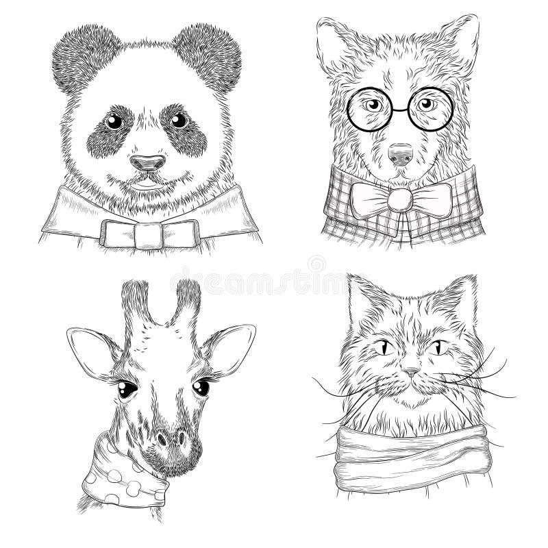 Animales del inconformista Animales salvajes de los ejemplos adultos de la moda en bosquejos exhaustos de la diversa de la ropa m stock de ilustración