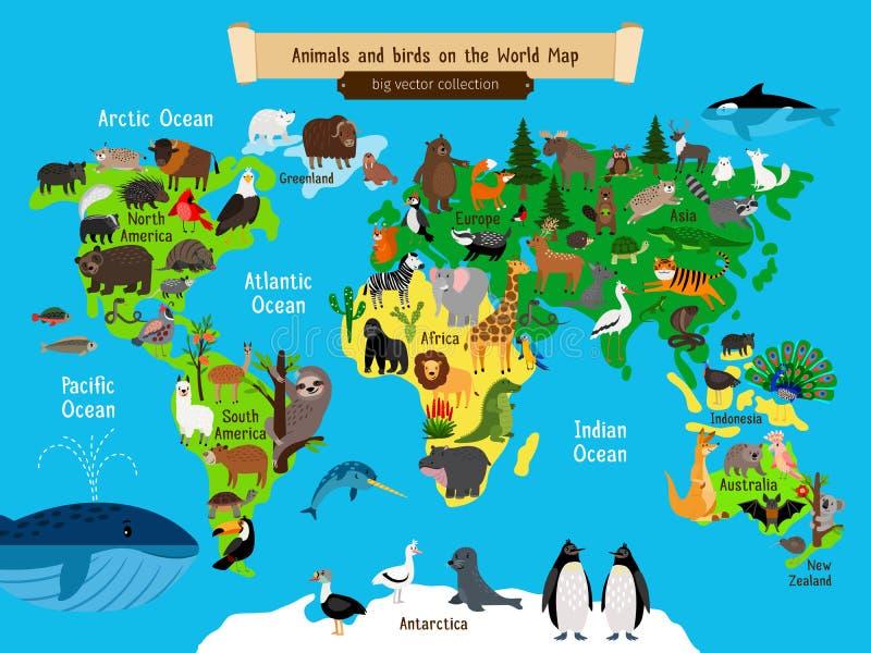 Animales del mapa del mundo Europa y Asia, el sur y los animales de Norteamérica, de Australia y de África trazan el ejemplo del  ilustración del vector