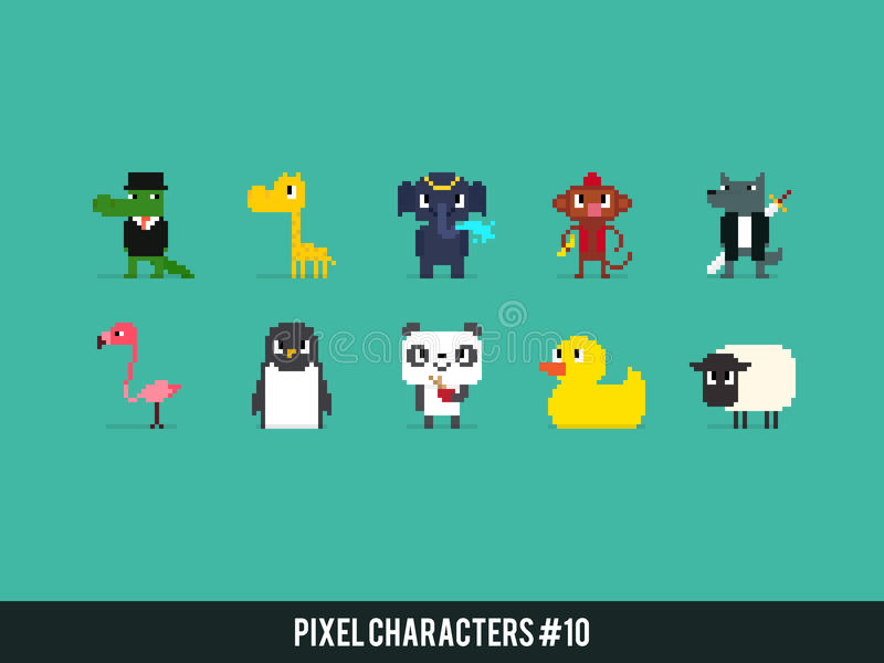Animales del pixel ilustración del vector