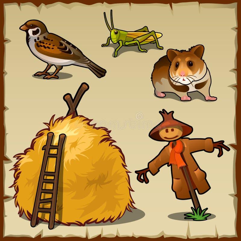 Animales del pueblo, pajar y espantapájaros asustadizo stock de ilustración