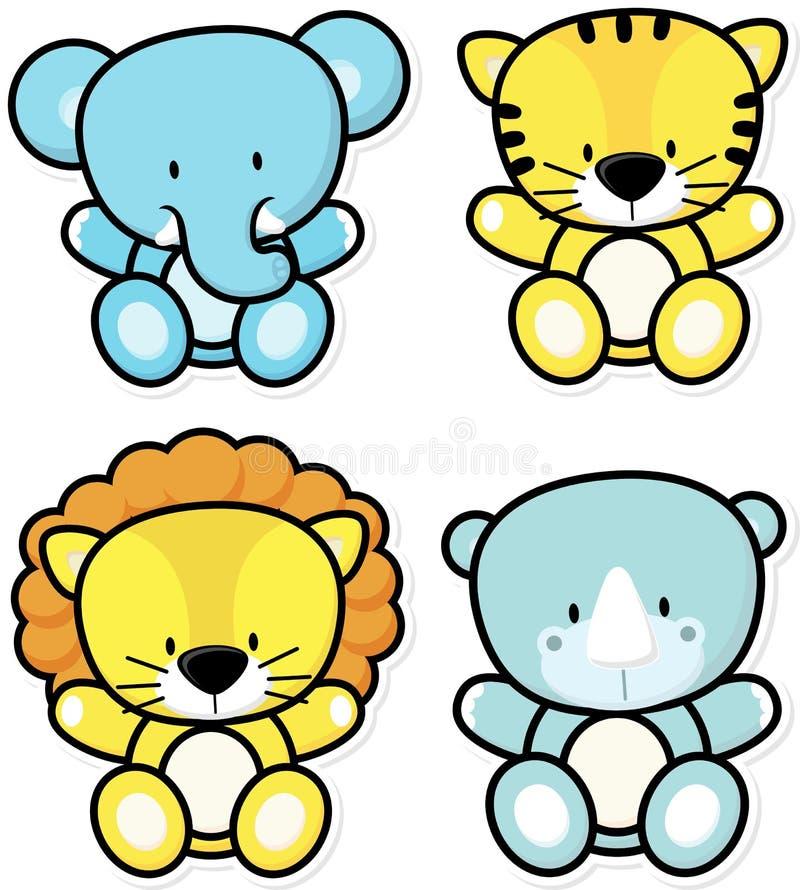 Animales del safari del bebé ilustración del vector