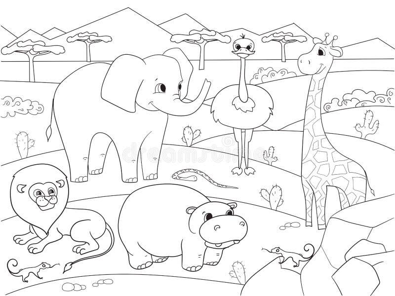 Animales del vector del colorante de la sabana de África para los adultos stock de ilustración