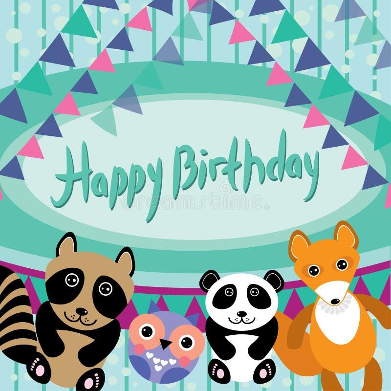 Animales divertidos Búho, zorro, mapache, panda Tarjeta del feliz cumpleaños VE stock de ilustración