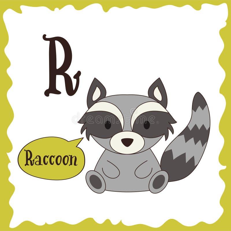 Animales divertidos de la historieta Letra de R Alfabeto lindo para la educación de los niños Ilustración del vector ilustración del vector
