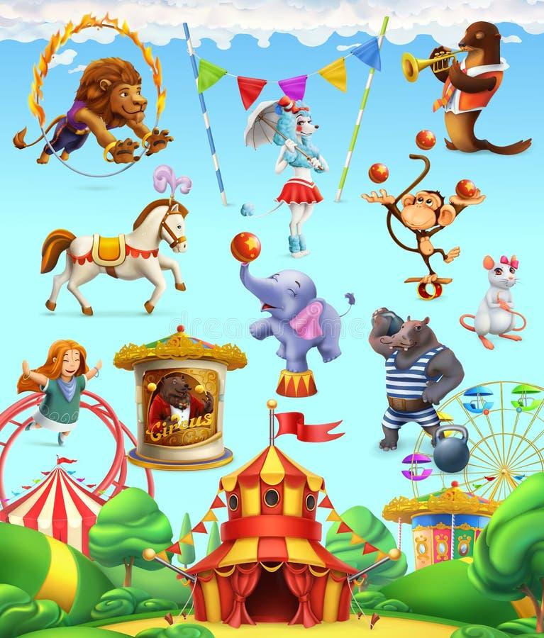 Animales divertidos del circo, sistema de iconos del vector stock de ilustración