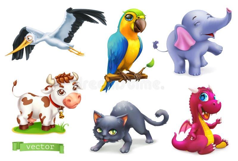 Animales divertidos sistema del icono del vector 3d Cigüeña, loro, elefante, vaca, gato, dragón stock de ilustración