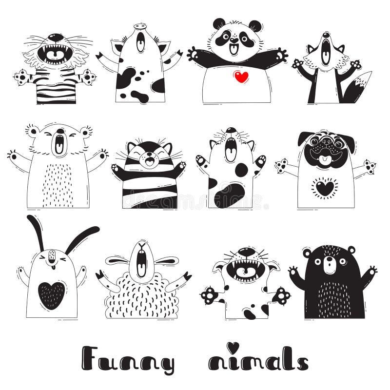 Animales divertidos Tiger Pig Bear Fox Sheep Cat Pug Panda Rabbit para el diseño de los partidos de los niños, cuartos, etiquetas stock de ilustración