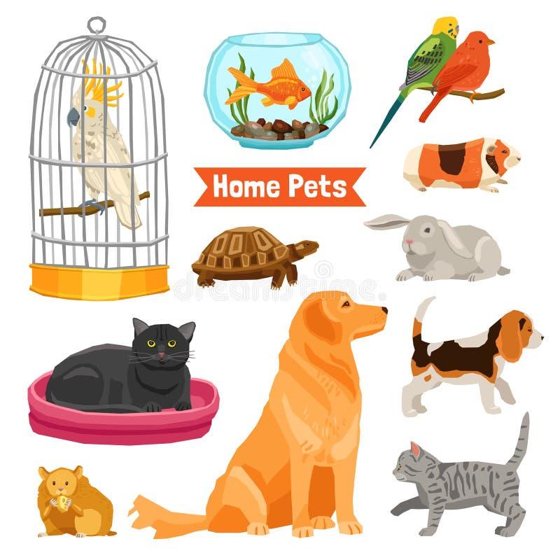 Animales domésticos caseros fijados ilustración del vector