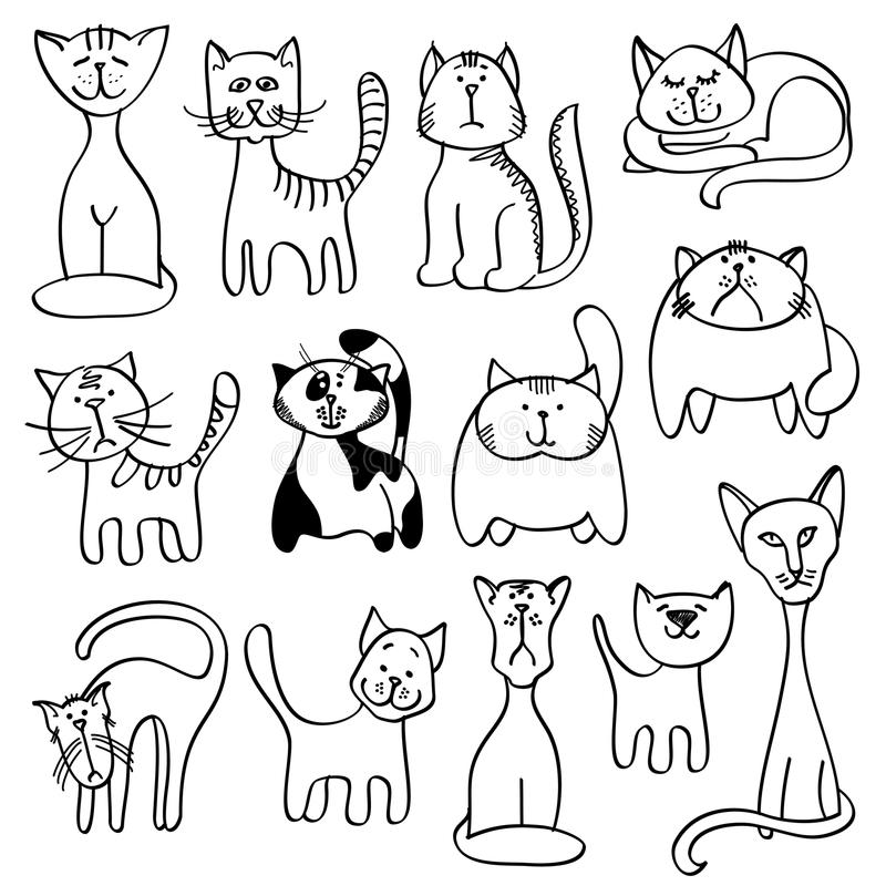 Animales domésticos caseros, gatos lindos en estilo del vector del garabato ilustración del vector