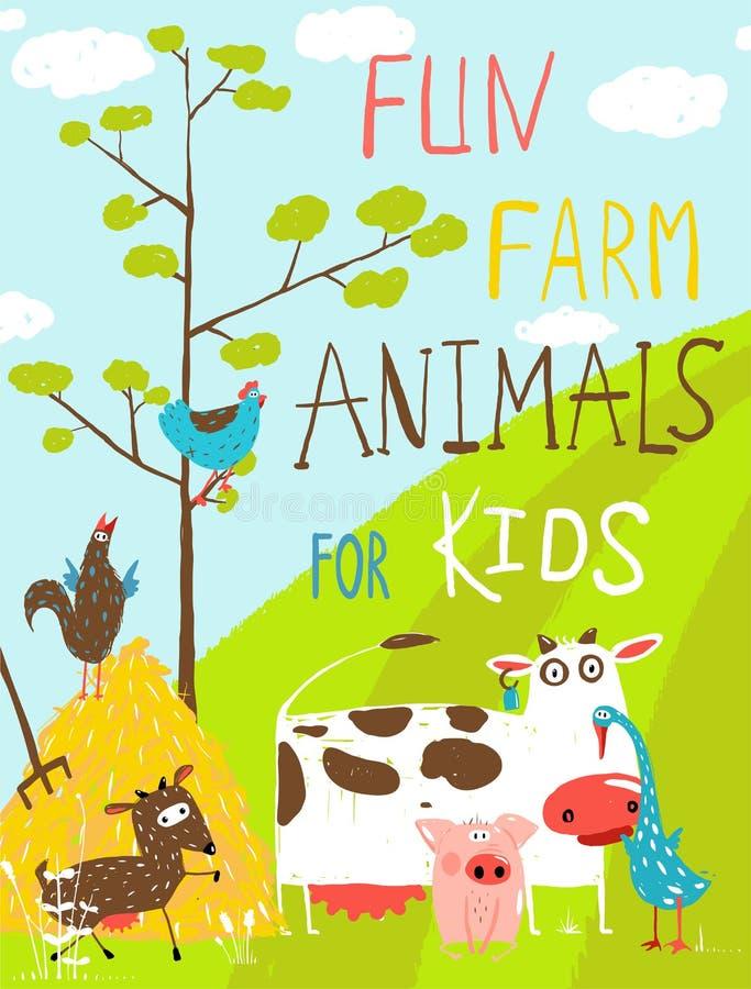 Animales domésticos de la granja divertida colorida de la historieta libre illustration