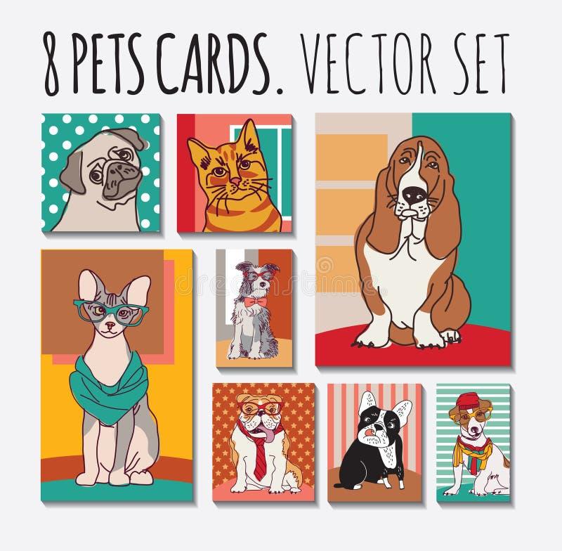 Animales domésticos de los animales de las tarjetas de los gatos y de los perros fijados libre illustration