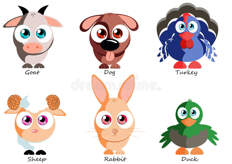 Animales domésticos divertidos determinados para el uso como las etiquetas engomadas, los libros, los juegos y otro produ libre illustration
