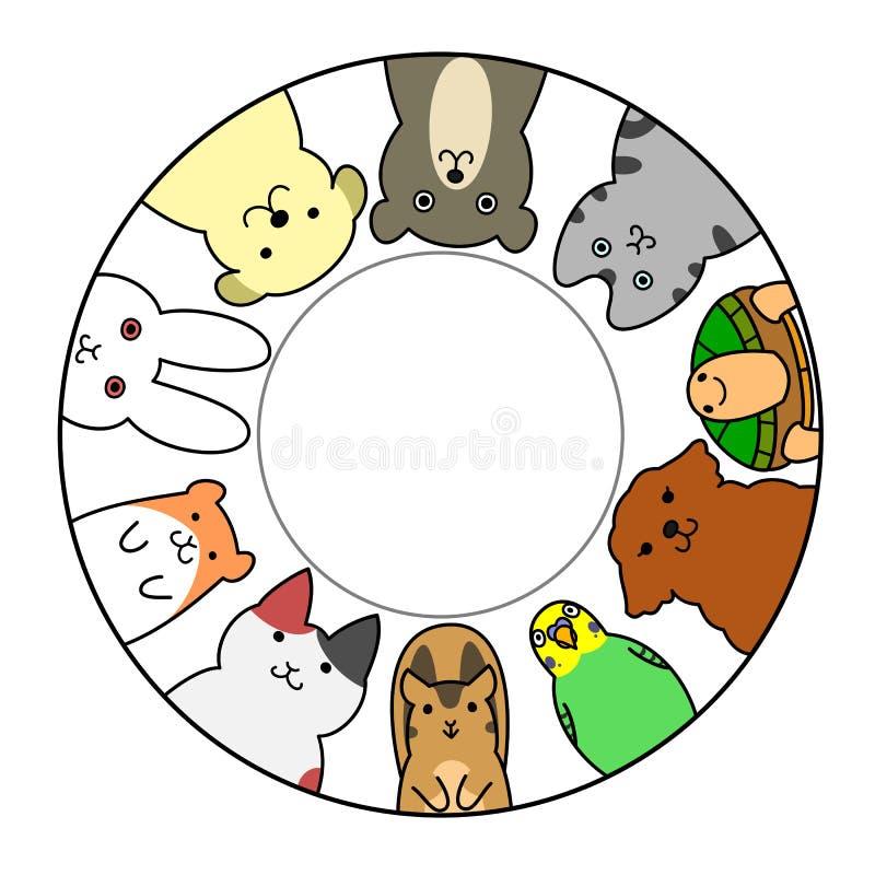 Animales domésticos en círculo con el espacio de la copia stock de ilustración
