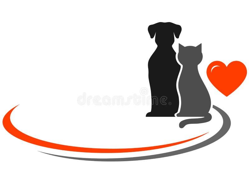 Animales domésticos y lugar para el texto stock de ilustración