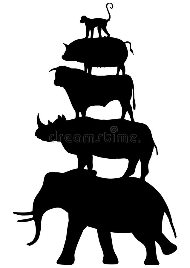 Animales empilados ilustración del vector