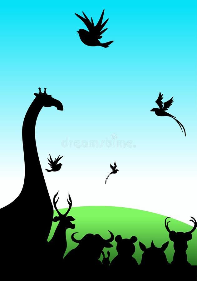 Animales en campo grueso ilustración del vector