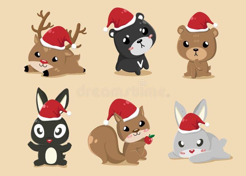 Animales en d?a de la Navidad ilustración del vector