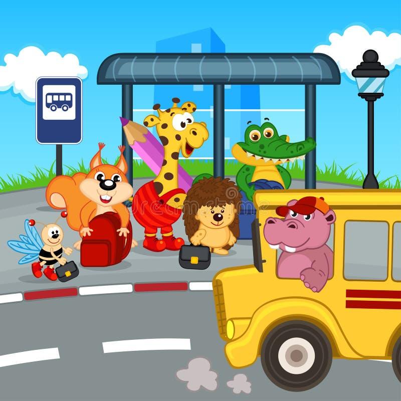 Animales en el autobús escolar que espera de la parada de autobús stock de ilustración