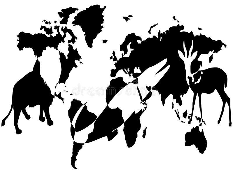 Animales en el mundo ilustración del vector