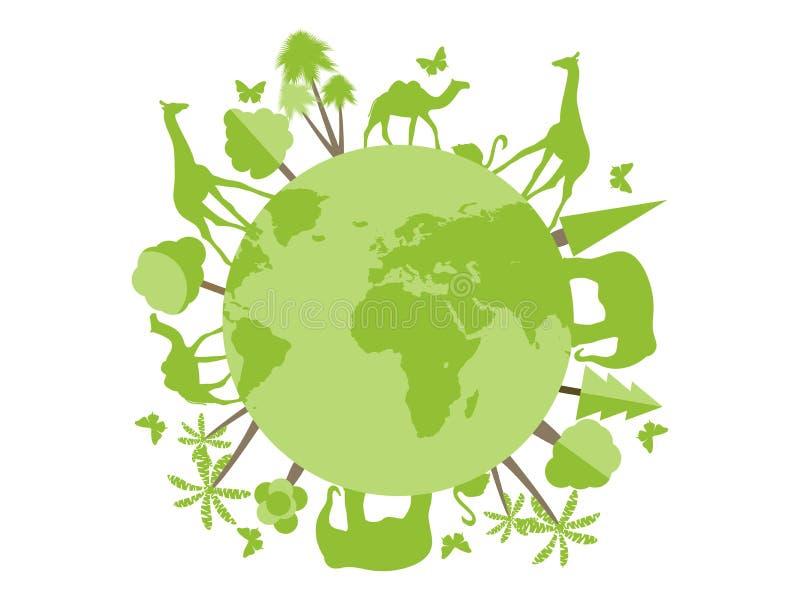 Animales en el planeta, refugio para animales, santuario de fauna Día de ambiente de mundo ilustración del vector