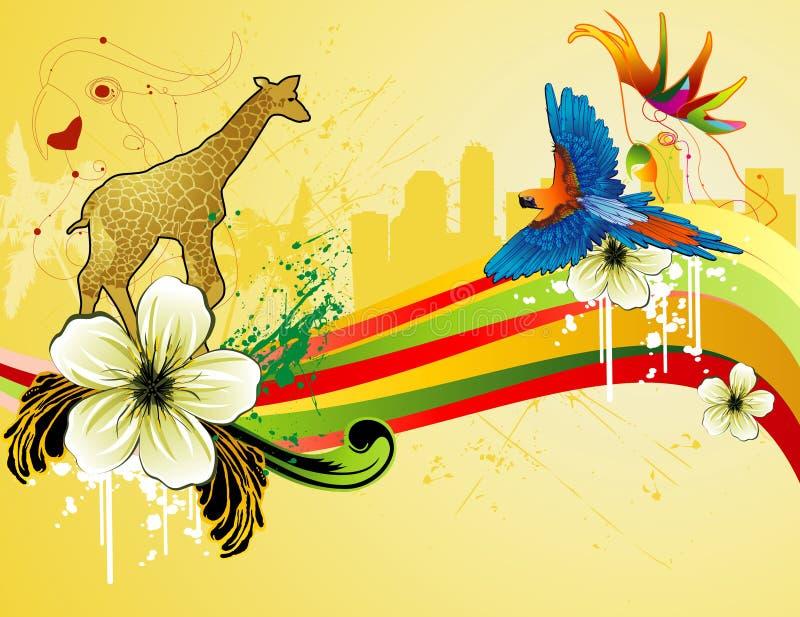 Animales en el vector de la ciudad stock de ilustración