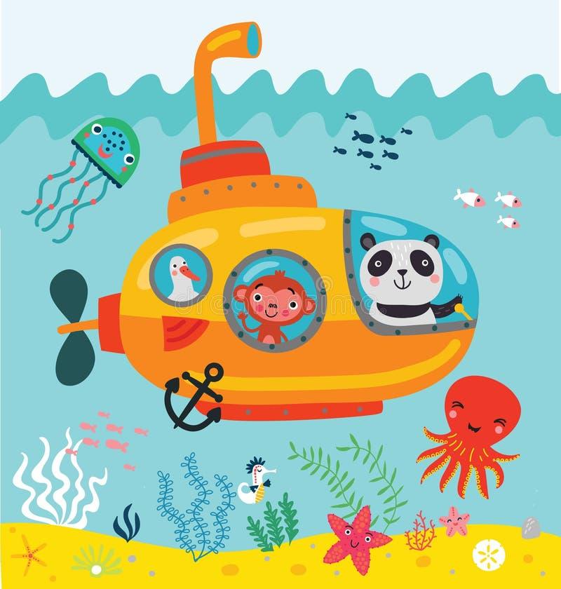 Animales en la nadada del bathyscaphe debajo del agua stock de ilustración
