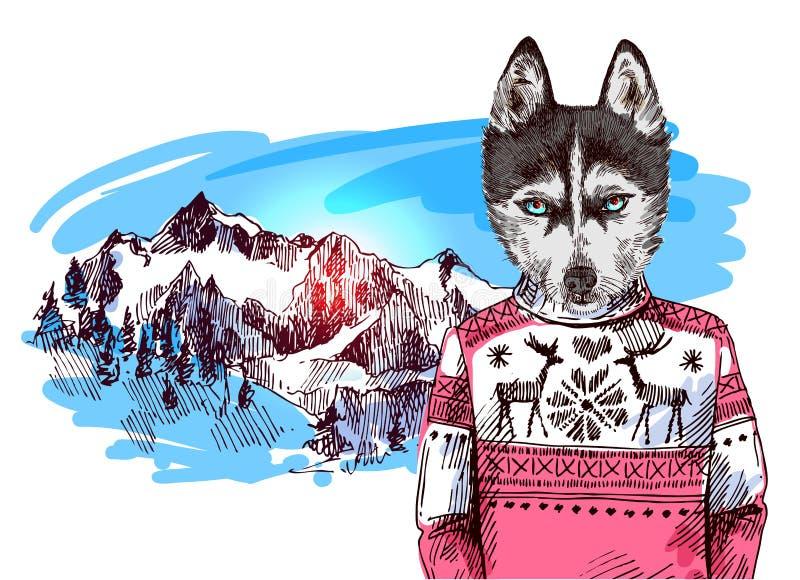 Animales en montañas ilustración del vector