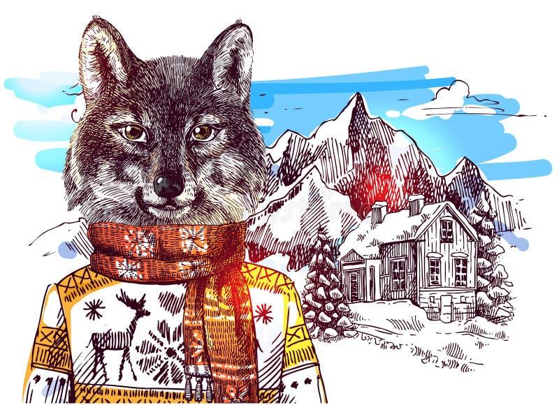 Animales en montañas stock de ilustración