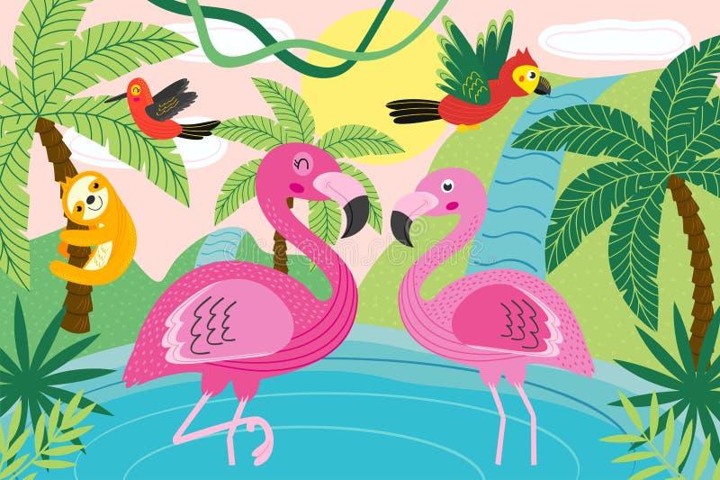 Animales en naturaleza tropical ilustración del vector