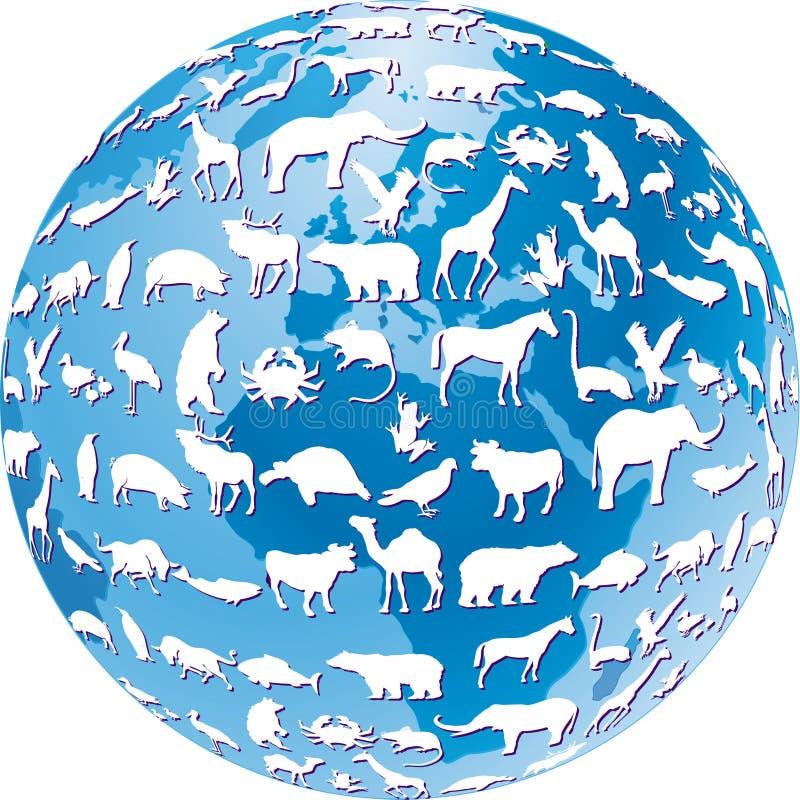 Animales en peligro globales stock de ilustración